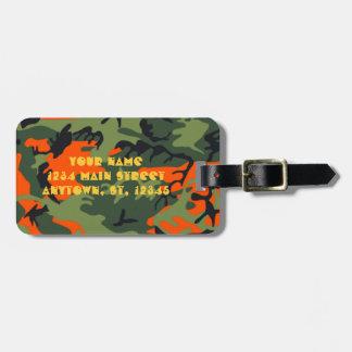 Hunter Orange Camo Luggage tag w shotgun lettering