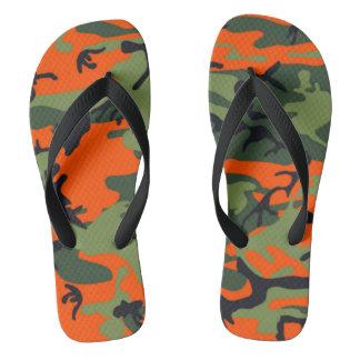 Hunter orange style camo flip flops