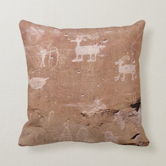 Hunter Petroglyph with Text Template Throw Pillow