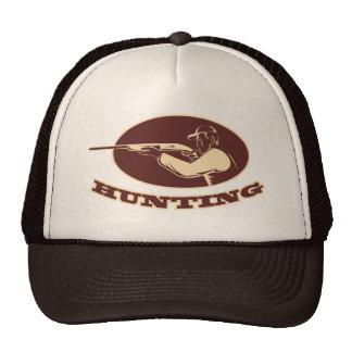 hunter rifle aiming shotgun side woodcut mesh hats