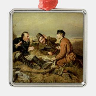 Hunters, 1816 Silver-Colored square ornament