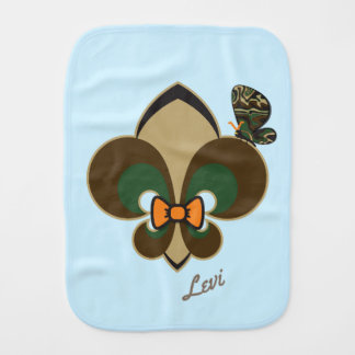 Hunter's bow-tie & butterfly fleur de lis burp cloth