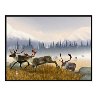 Hunters In The Mist (Caribou) Postcard
