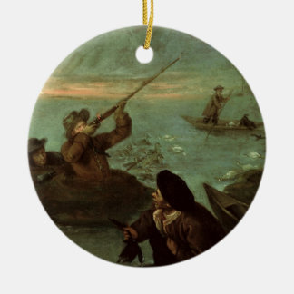Hunters Shooting at Ducks (oil on canvas) Round Ceramic Ornament