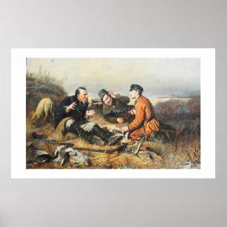 Hunters taking a break poster