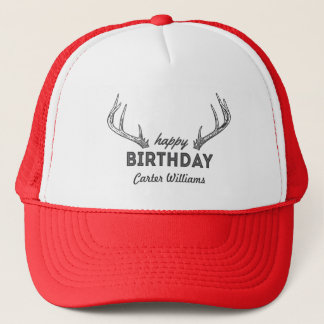 Hunting Birthday Cake Custom Name on Hat Antlers