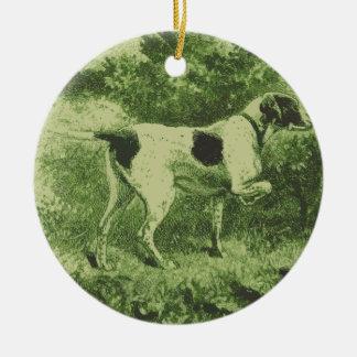 Hunting Dog Ceramic Ornament