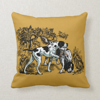 hunting dogs throw pillow