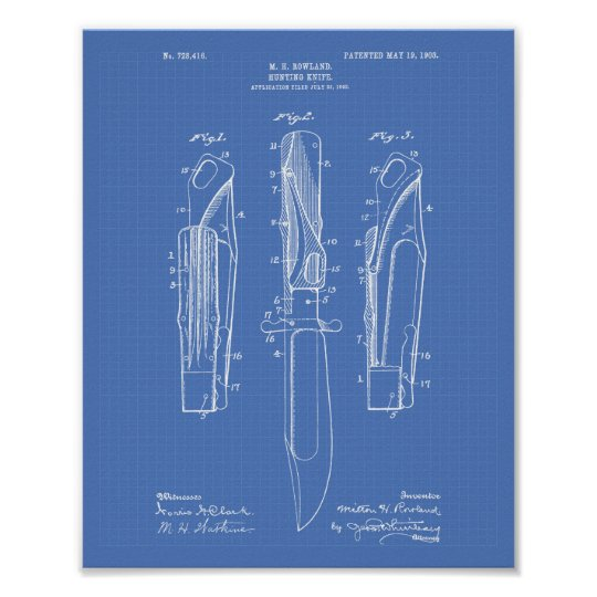 Hunting Knife 1903 Patent Art Blueprint Poster