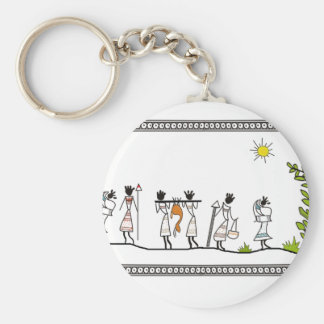 hunting_peoples_saura_Indian_Tribal_Painting Basic Round Button Keychain