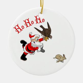 Hunting Santa Ceramic Ornament