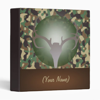 Hunting Theme Deer Antlers Green Speckled Camo Vinyl Binders