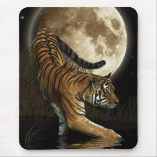 Hunting Tiger & Full Moon Wildlife Art Mouse Pad