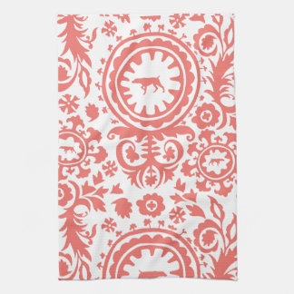 HUNTING WEIMARANER RED FLORAL KITCHEN TOWEL