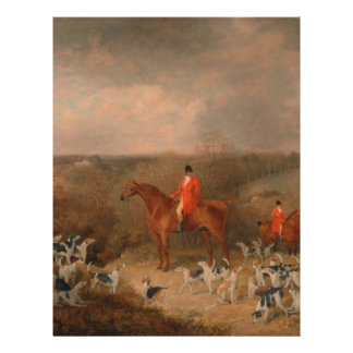 """Hunting With Dogs and Horse Famous Oil Painting 8.5"""" X 11"""" Flyer"""