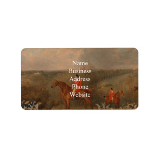 Hunting With Dogs and Horse Famous Oil Painting Address Label