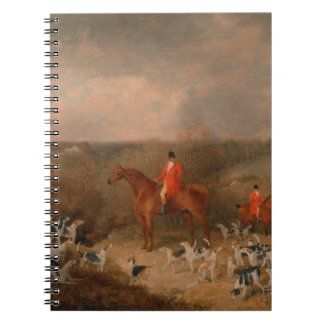 Hunting With Dogs and Horse Famous Oil Painting Spiral Note Books