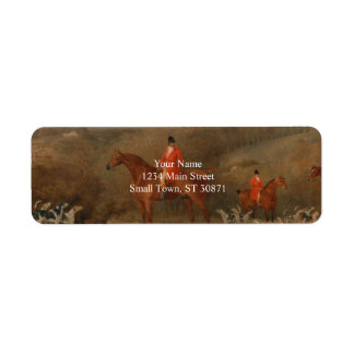 Hunting With Dogs and Horse Famous Oil Painting Return Address Label