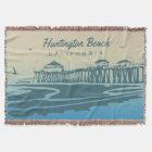 Huntington Beach Pier, CA - Custom Illustration Throw Blanket