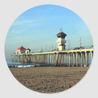Huntington Beach Pier Classic Round Sticker