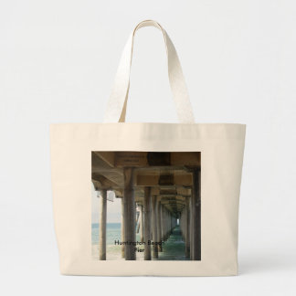 , Huntington Beach Pier Large Tote Bag
