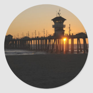 Huntington Beach Sunrise at the beach Classic Round Sticker