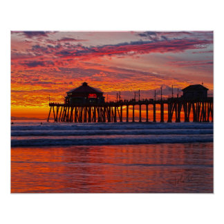 "Huntington Beach Sunset  1/7/14    16"" x 20"" Poster"