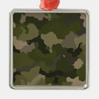 Huntress Camo Silver-Colored Square Ornament