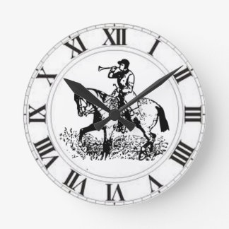 Huntsman Horn Fox Hunt Master Hunter Horse Round Clock