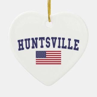 Huntsville AL US Flag Ceramic Heart Ornament