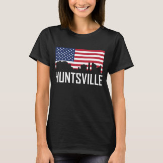 Huntsville Alabama Skyline American Flag T-Shirt