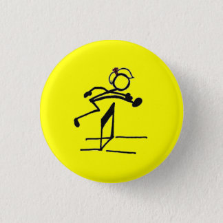 Hurdle stick girl 1 inch round button