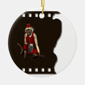 Hurdy Gurdy 3D Music Monkey 12 Double-Sided Ceramic Round Christmas Ornament