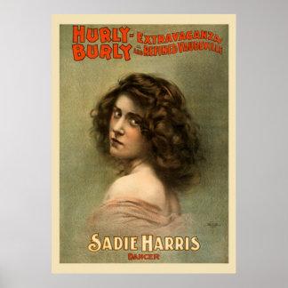 Hurly Burly Extravaganza Vintage Poster