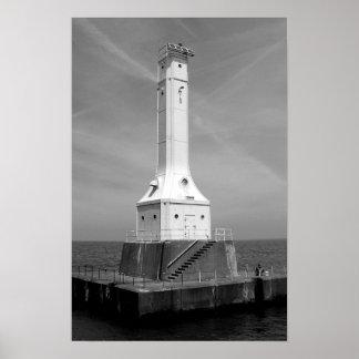 Huron lighthouse black and white print