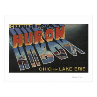Huron, Ohio - Lake Erie - Large Letter Scenes Postcard
