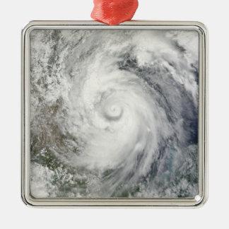 Hurricane Alex over the western Gulf of Mexico Silver-Colored Square Ornament