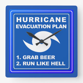 Hurricane Evacuation Plan ;-) Square Wall Clock