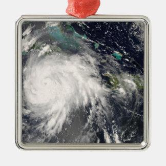 Hurricane Gustav over Jamaica 2 Silver-Colored Square Ornament