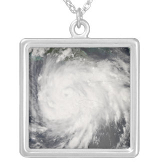 Hurricane Gustav over Jamaica Silver Plated Necklace