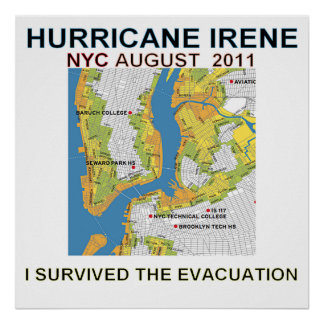 Hurricane Irene New York City Evacuation Map Poste Poster