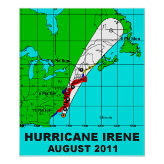 Hurricane Irene Path August 2011 Poster Print 36 b