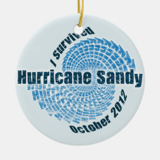 Hurricane Sandy Round Ceramic Ornament