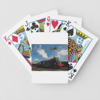 Hurricanes and steam train bicycle playing cards