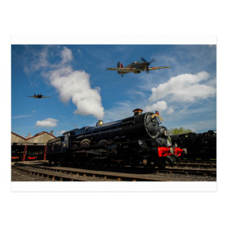 Hurricanes and steam train postcard