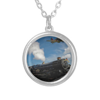 Hurricanes and steam train silver plated necklace