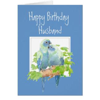 Husband Birthday, Cute Romantic Parrots, Birds Card
