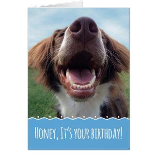 Husband Birthday, Happy Dog with Big Smile Greeting Card