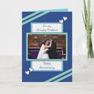 Husband blue Wedding Anniversary photo greeting Card