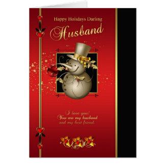 Husband Christmas Card - Gold Effect Snowman - Red